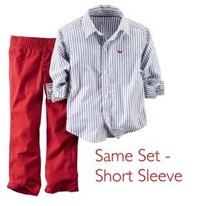 Carter's Set Pants & Striped Short Sleeve Top 2T